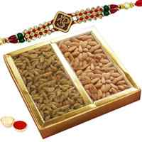 One or More Om Rakhi with Dry fruits to Rakhi_to_uk.asp