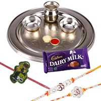 Silver Plated Rakhi Thali with 2 Om Rakhi, 1 Kids Rakhi and 1 Dairy Milk 95 gr to Rakhi_to_uk.asp