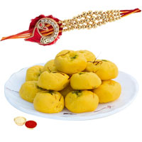 Impressive One Rakhi with Delisious Kesar peda of 500 gm to Rakhi_to_uk.asp