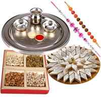 Free Rakhi, Roli Tilak and Chawal with Silver Plated Thali, Haldiram Kaju Katli and Dry Fruits to Rakhi_to_uk.asp