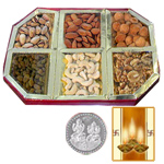 Silver Plated Coin with Dryfruit to Diwali_usa.asp