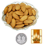 Silver Plated Coin with Almonds to Diwali_usa.asp