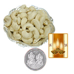 Silver Plated Coin with Cashews to Diwali_usa.asp