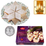Kaju Katli, Soan Papdi and Silver Plated Coin to Diwali_usa.asp