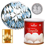 Kaju Katli, Rosgulla and Silver Plated Coin to Diwali_usa.asp