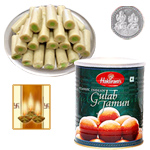Kaju Pista Roll, Gulab Jamun with Silver Plated Coin to Diwali_usa.asp