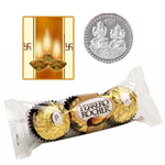 3 Pcs. Ferrero Rocher Chocolates with free 5 gms Siver Plated Coin and Diwali Card. to Diwali_usa.asp