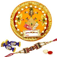 Rakhi Thali with Rakhis, Chocolates and Roli Tikka<br /><font color=#0000FF>Free Delivery in USA</font> to Rakhi_thali_usa.asp