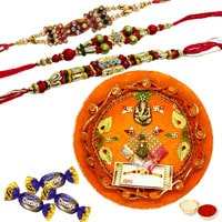 Rakhi Thali with  Rakhis,  Chocolates and Roli Tikka<br /><font color=#0000FF>Free Delivery in USA</font> to Rakhi_to_usa.asp