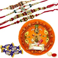 Rakhi Thali with Rakhis, Chocolates and Roli Tikka <br /><font color=#0000FF>Free Delivery in USA</font> to Rakhi_thali_usa.asp