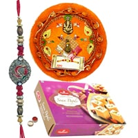Rakhi Thali with Rakhis, Haldirams Soan Papdi and Roli Tikka <br /><font color=#0000FF>Free Delivery in USA</font> to Rakhi_to_usa.asp