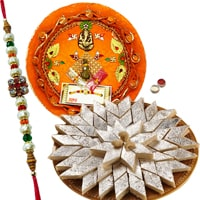 Rakhi Thali with Rakhis, Kaju Katli<br><font color=#0000FF>Free Delivery in USA</font> to Rakhi_to_usa.asp