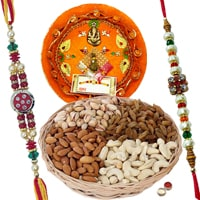 Rakhi Thali with Rakhis and Dry Fruits, Roli Tikka <br /><font color=#0000FF>Free Delivery in USA</font> to Rakhi_thali_usa.asp