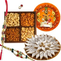 Rakhi Thali with Rakhis, Kaju Katli and Dry Fruits<br><font color=#0000FF>Free Delivery in USA</font> to Rakhi_thali_usa.asp