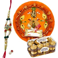 Rakhi Thali with One Rakhi n 12 Pcs. Ferrero Rocher Box and Roli Tikka<br><font color=#0000FF>Free Delivery in USA</font> to Stateusa.asp