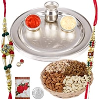 Rakhi Thali with Rakhis, Dry Fruits and Roli Tikka<br><font color=#0000FF>Free Delivery in USA</font> to Rakhi_to_usa.asp