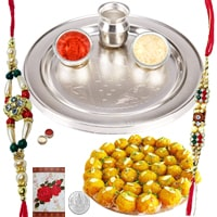 Rakhi Thali with Rakhis, Boondi Ladoo and Roli Tikka<br /><font color=#0000FF>Free Delivery in USA</font> to Rakhi_thali_usa.asp