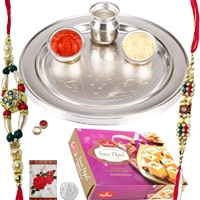 Rakhi Thali with Rakhis,Haldiram Soan Papadi and Roli Tikka<br><font color=#0000FF>Free Delivery in USA</font> to Rakhi_to_usa.asp