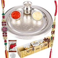 Rakhi Thali with Rakhis,3 piece Ferrero Rocher and Roli Tikka<br><font color=#0000FF>Free Delivery in USA</font> to Rakhi_to_usa.asp