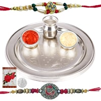 Rakhi Thali with Rakhis Hamper<br><font color=#0000FF>Free Delivery in USA</font> to Rakhi_thali_usa.asp