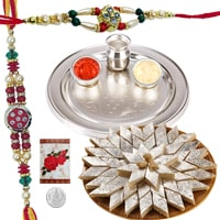 Rakhi Thali with Rakhis, Kaju Katli and Roli Tikka<br><font color=#0000FF>Free Delivery in USA</font> to Rakhi_thali_usa.asp