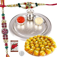 Rakhi Thali with Rakhis, Boondi Ladoo and Roli Tikka<br><font color=#0000FF>Free Delivery in USA</font> to Rakhi_to_usa.asp