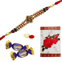 One or More Designer Ethnic Rakhi with Chocolates<br /><font color=#0000FF>Free Delivery in USA</font> to Rakhi_to_usa.asp