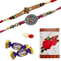 2 or More Designer Ethnic Rakhi with Chocolates<br /><font color=#0000FF>Free Delivery in USA</font> to Rakhi_to_usa.asp