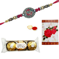 2 Designer Ethnic Rakhi with 3 Pcs. Ferrero Rocher Chocolates<br /><font color=#0000FF>Free Delivery in USA</font> to Stateusa.asp