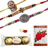 2 Designer Ethnic Rakhi 1 Kids Rakhi with 3 Pcs. Ferrero Rocher Chocolates<br /><font color=#0000FF>Free Delivery in USA</font> to Rakhi_to_usa.asp