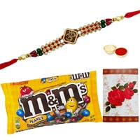One or More Designer Ethnic Rakhi with famous M&M Chocolates ( 57 Gms.) Bag .<br /><font color=#0000FF>Free Delivery in USA</font> to Stateusa.asp