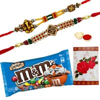 2 or More Designer Ethnic Rakhi with famous M&M Chocolates ( 57 Gms.) Bag<br /><font color=#0000FF>Free Delivery in USA</font> to Rakhi_to_usa.asp