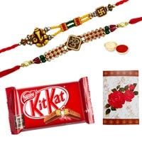 2 or More Designer Ethnic Rakhi with Kitkat Chocolate Bar ( 57 Gms.)<br /><font color=#0000FF>Free Delivery in USA</font> to Rakhi_to_usa.asp