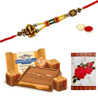One or More Designer Ethnic Rakhi with famous Ghiradelli Chocolates ( 150 Gms. Pack)<br /><font color=#0000FF>Free Delivery in USA</font> to Stateusa.asp