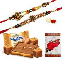 2 or More Designer Ethnic Rakhi with famous Ghiradelli Chocolates ( 150 Gms. Pack)<br /><font color=#0000FF>Free Delivery in USA</font> to Rakhi_to_usa.asp