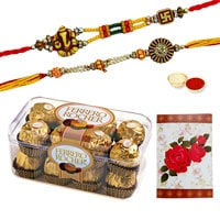 2 or more Designer Ethnic Rakhi with 12 Pcs. Ferrero Chocolates Box<br /><font color=#0000FF>Free Delivery in USA</font> to Rakhi_to_usa.asp
