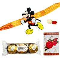 One or More Kids ( Mickey Mouse / Mini Mouse / Pooh ) Rakhi with 3 Ferrero Rocher Chocolates<br /><font color=#0000FF>Free Delivery in USA</font> to Rakhi_to_usa.asp