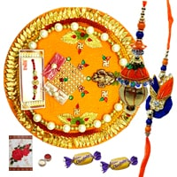 Rakhi Thali with Bhaiya n Bhabhi Rakhi and 2 Chocolates<br /><font color=#0000FF>Free Delivery in USA</font> to Rakhi_to_usa.asp