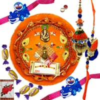Rakhi Thali with 1 Set Bhaiya n Bhabhi Rakhi, Kids Rakhi and Chocolates<br /><font color=#0000FF>Free Delivery in USA</font> to Rakhi_to_usa.asp