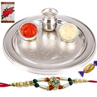 Silver Plated Rakhi Thali with One or More Rakhi Options with Chocolates<br /><font color=#0000FF>Free Delivery in USA</font> to Rakhi_thali_usa.asp