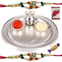 Silver Plated Rakhi Thali with 2 or More Rakhi Options with Chocolates�<br /><font color=#0000FF>Free Delivery in USA</font> to Rakhi_to_usa.asp