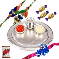 Silver Plated Rakhi Thali with 1 Set Bhaiya n Bhabhi Rakhi, Kids Rakhi and Chocolates<br /><font color=#0000FF>Free Delivery in USA</font> to Rakhi_to_usa.asp