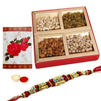 One or More Designer Ethnic Rakhi with with Dry fruits�<br /><font color=#0000FF>Free Delivery in USA</font> to Stateusa.asp