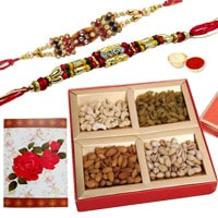 2 or more Designer Ethnic Rakhi with Dry fruits�<br /><font color=#0000FF>Free Delivery in USA</font> to Rakhi_to_usa.asp