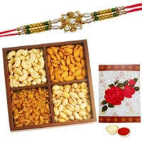 One or More Designer Ethnic Rakhi with with 250 Gms. Dry fruits�<br /><font color=#0000FF>Free Delivery in USA</font> to Stateusa.asp