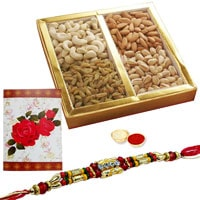 One or More Designer Ethnic Rakhi with with 500 Gms. Dry fruits<br /><font color=#0000FF>Free Delivery in USA</font> to Rakhi_to_usa.asp