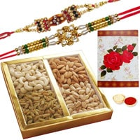 2 or more Designer Ethnic Rakhi with 500 Gms. Dry fruits<br /><font color=#0000FF>Free Delivery in USA</font> to Rakhi_to_usa.asp