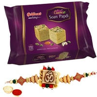 One or More Designer Ethnic Rakhi with 250 Gms. Haldirams Soan Papri<br /><font color=#0000FF>Free Delivery in USA</font> to Rakhi_to_usa.asp