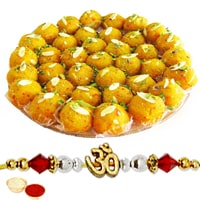 One or More Designer Ethnic Rakhi with 250 Gms. Boondi Ladoo<br /><font color=#0000FF>Free Delivery in USA</font> to Stateusa.asp