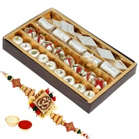 One or More Designer Ethnic Rakhi with 250 Gms. Assorted sweets<br /><font color=#0000FF>Free Delivery in USA</font> to Stateusa.asp